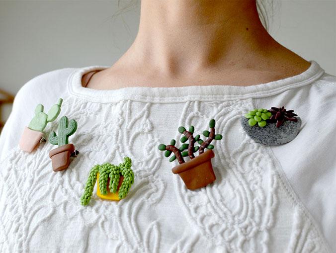broches cactus fimo