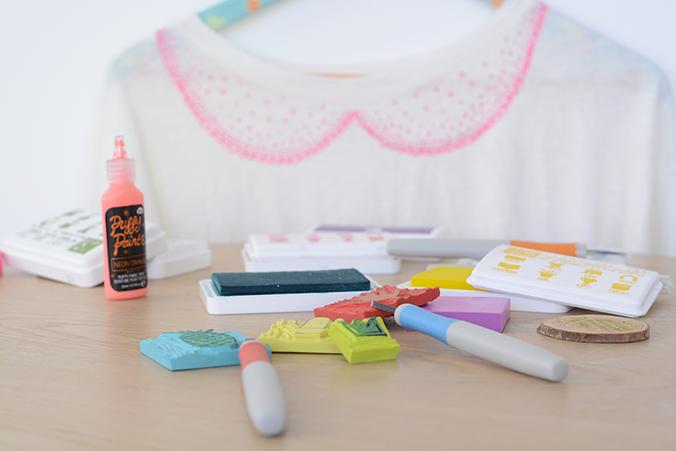 gravure de tampon et customisation textile