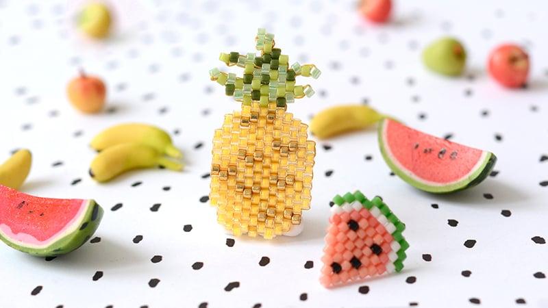 ananas et pasteque en perles miyuki !- Diagramme en perles miyuki - http://blog.la-petite-epicerie.fr/