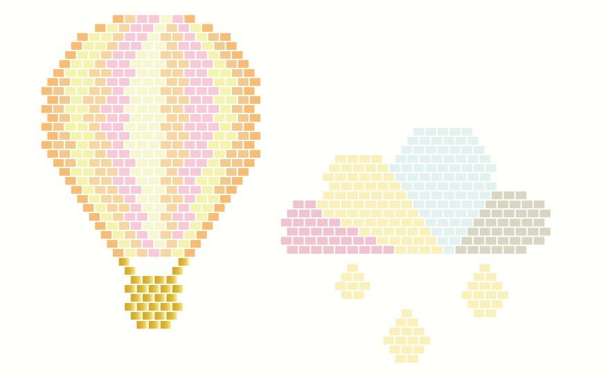Diagramme de nuage et mongolfière en perles miyuki - http://blog.la-petite-epicerie.fr/