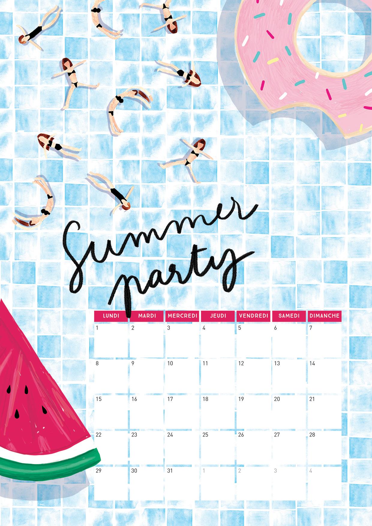 Calendrier août summer