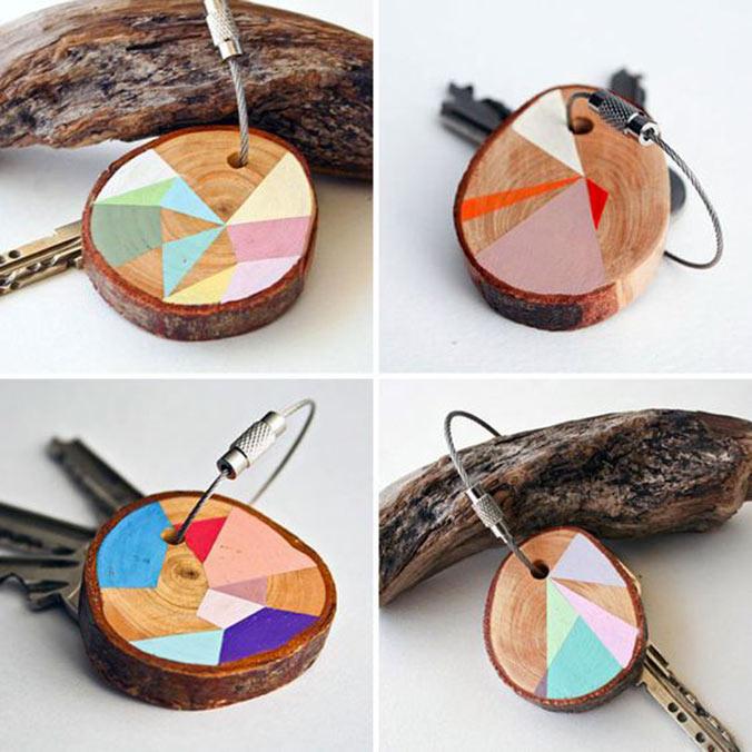 porte clés customises en bois