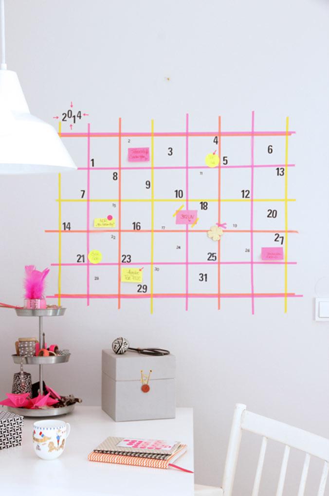 calendrier mural masking tape