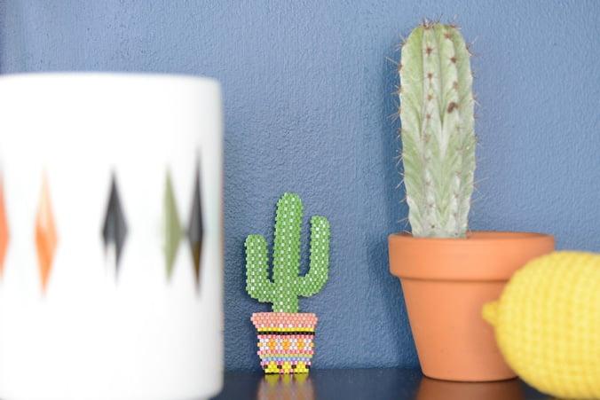 broche perles miyuki cactus