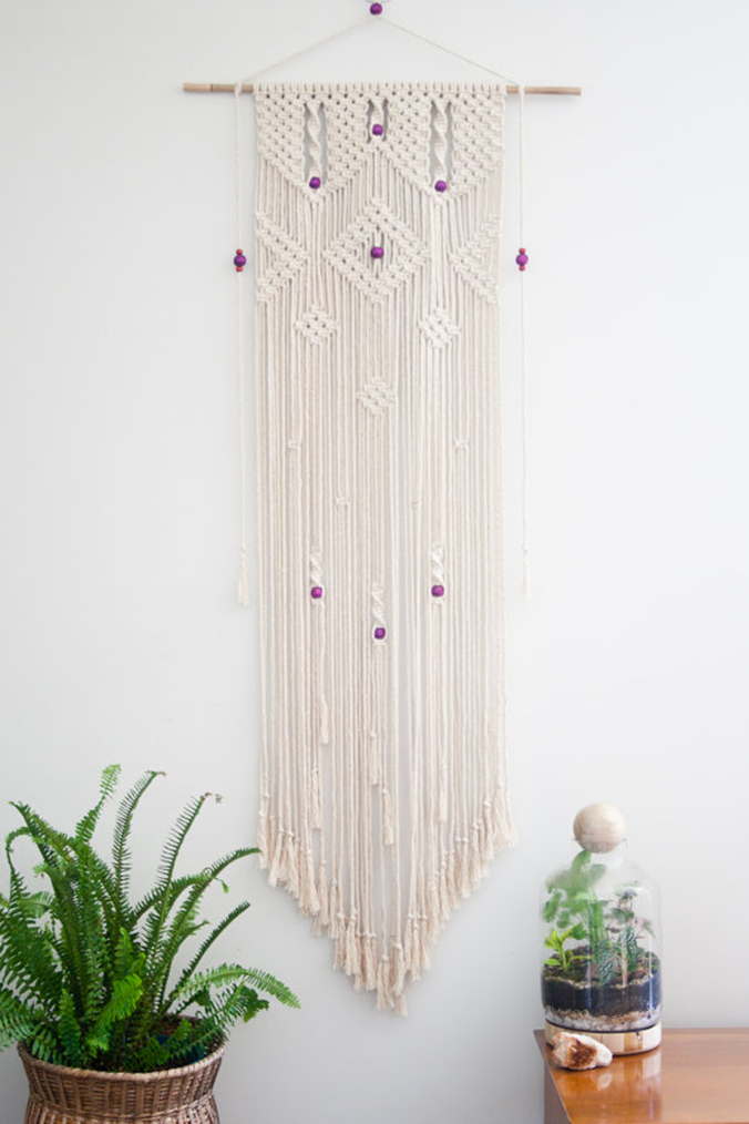 suspension-macramé-perles-violettes