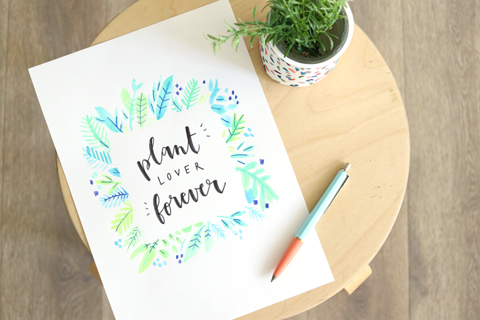 affiche-hand-made-lettering-aquarelle-plant-lover