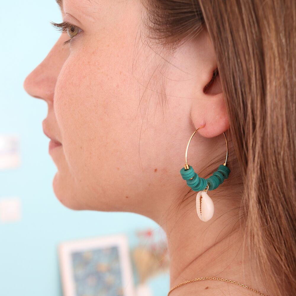 perles heishi boucle d'oreilles