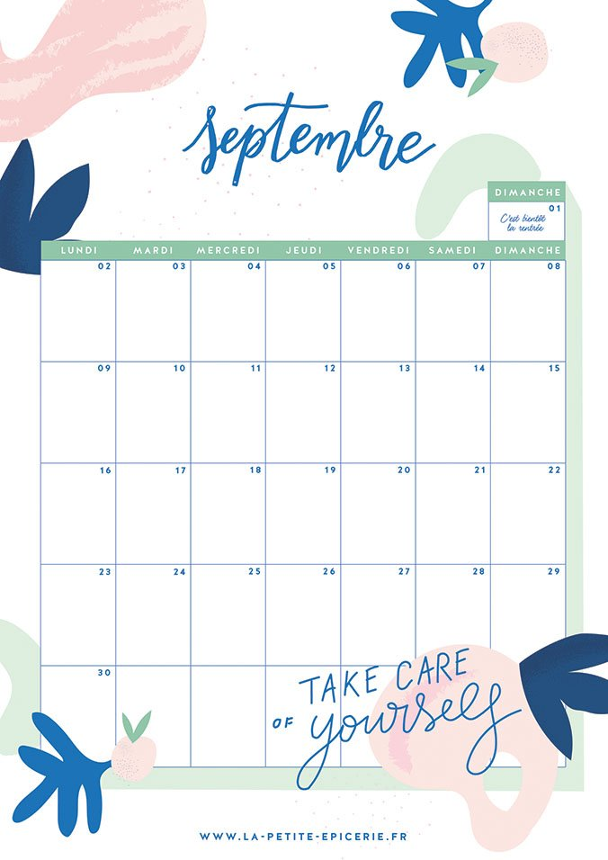 Calendrier Mois De Septembre.Calendrier Du Mois De Septembre A Imprimer
